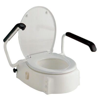 Height Adjustable Raised Toilet Seat w/Arms